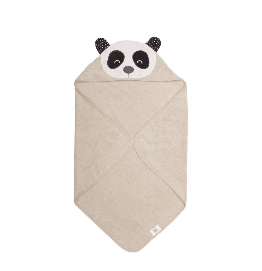 Ręcznik dla dzieci z bawełny organicznej Penny, Bawełna organiczna, certyfikat GOTS, Beżowy, biały, ciemny szary, S 80 x D 80 cm