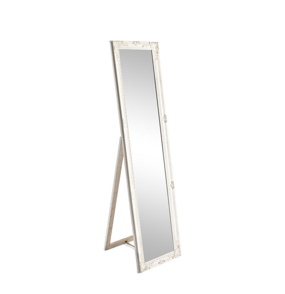 Vloerspiegel Miro met witte lijst, Lijst: gecoat hout, Wit, 40 x 160 cm