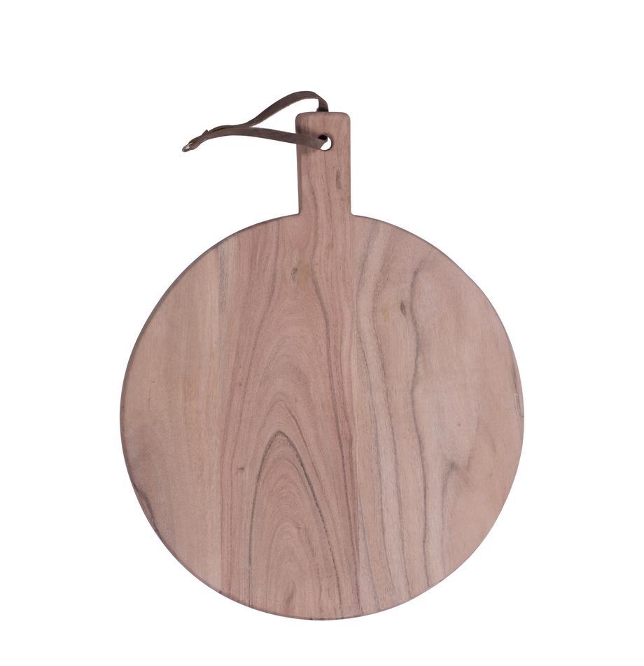 Tabla de cortar de madera Acacia, diferentes tamaños, Correa: cuero, Acacia, Ø 33 cm