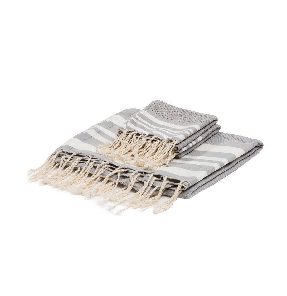 Leichtes Handtuch-Set Hamptons, 3-tlg., Perlgrau, Weiss, Set mit verschiedenen Grössen