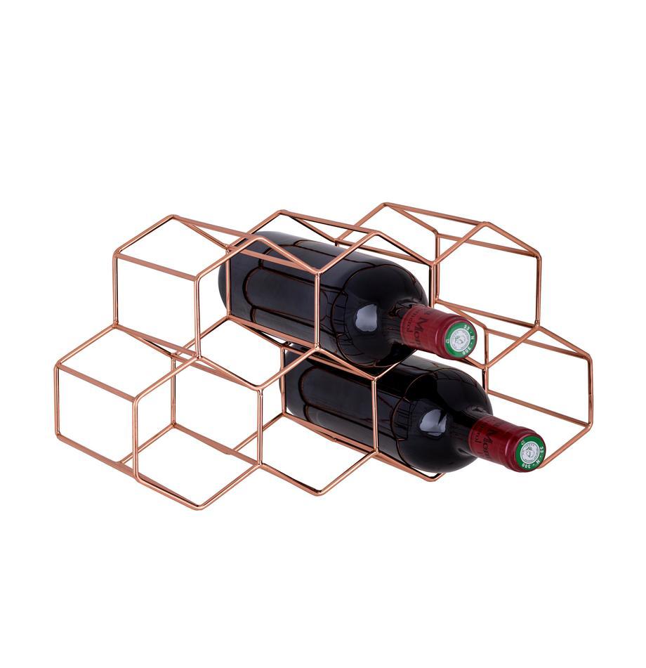 Weinregal Hexagon für 7 Flaschen, Metall, Kupfer, 37 x 16 cm