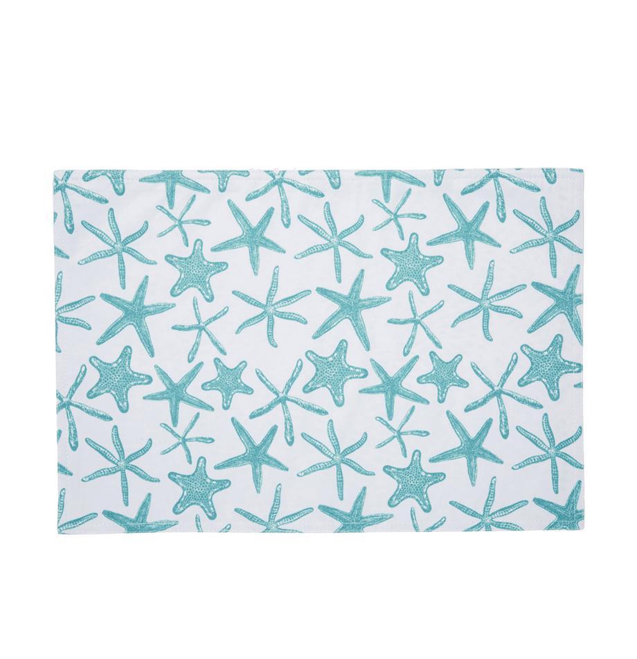 Wasserabweisende Tischsets Starbone, 2 Stück, Polyester, Weiss, Blau, 33 x 48 cm