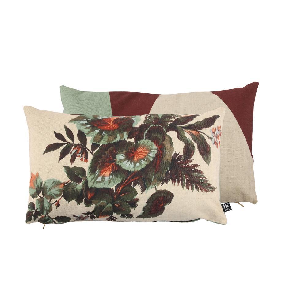 Dubbelzijdig kussen Kyoto met bladmotief, met vulling, Polyester, Beige, groentinten, oranje, 35 x 60 cm