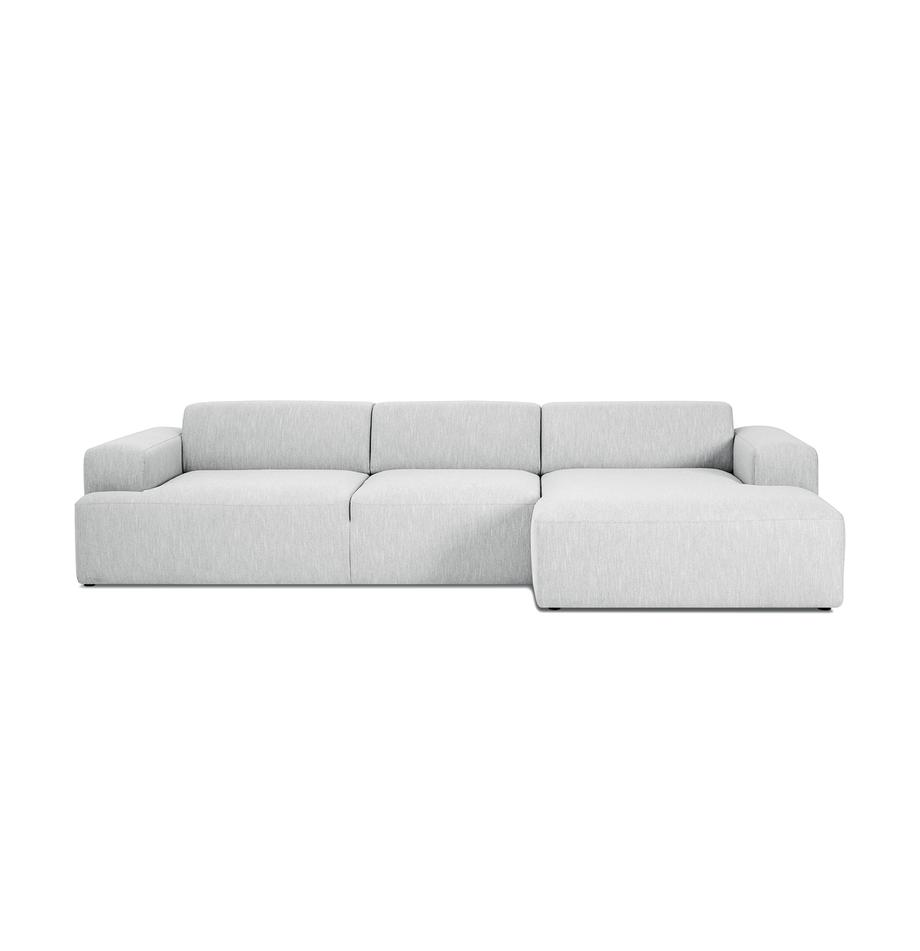 Ecksofa Melva (4-Sitzer) in Hellgrau, Bezug: Polyester Der hochwertige, Gestell: Massives Kiefernholz, Spa, Webstoff Hellgrau, B 319 x T 144 cm