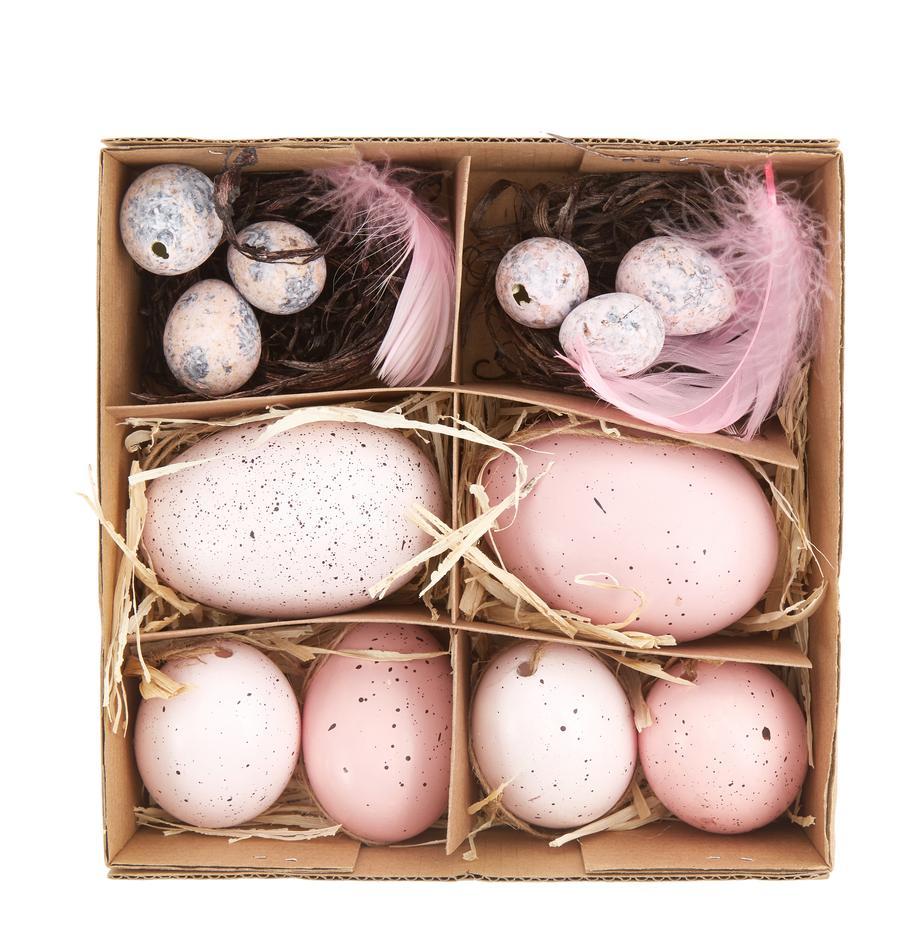 Deko-Objekt-Set Blush, 12-tlg., Echte Eier, Rosatöne, Grau, Braun, Set mit verschiedenen Größen