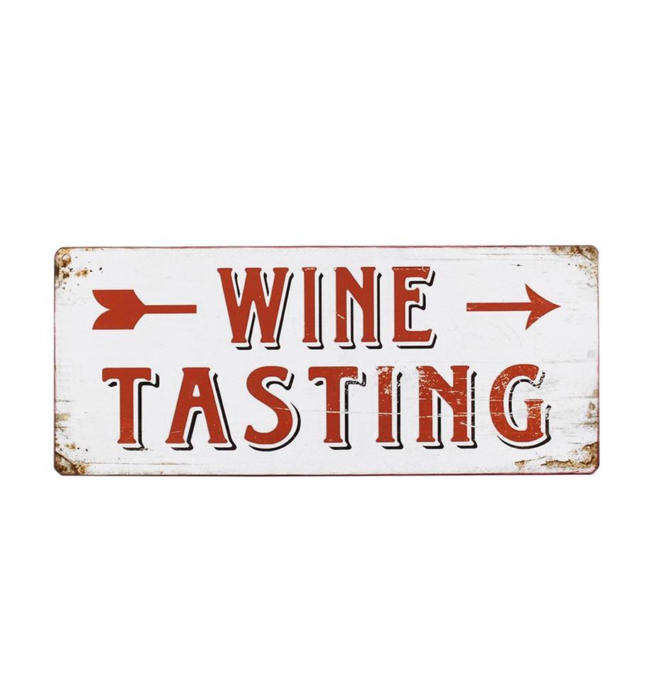Znak dekoracyjny Winetasting, Metal powlekany, Biały, czerwony, S 31 x W 13 cm