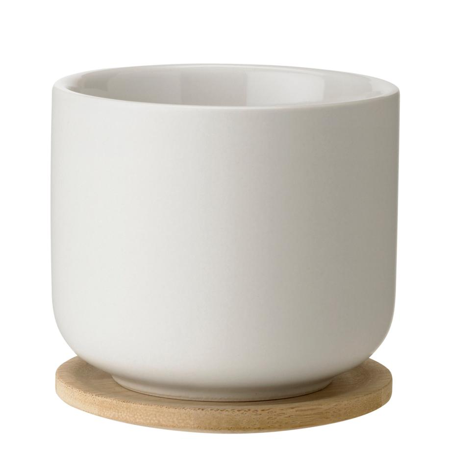 Tazza con coperchio/sottobicchiere color bianco Theo, Bianco latteo, bambù, Ø 8 x Alt. 8 cm