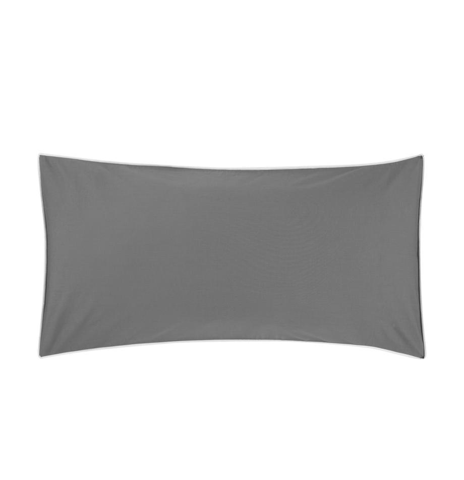 Poszewka na poduszkę z perkalu bawełnianego Daria, 2 szt., Ciemny szary Wykończenie brzegów: biały, S 40 x D 80 cm
