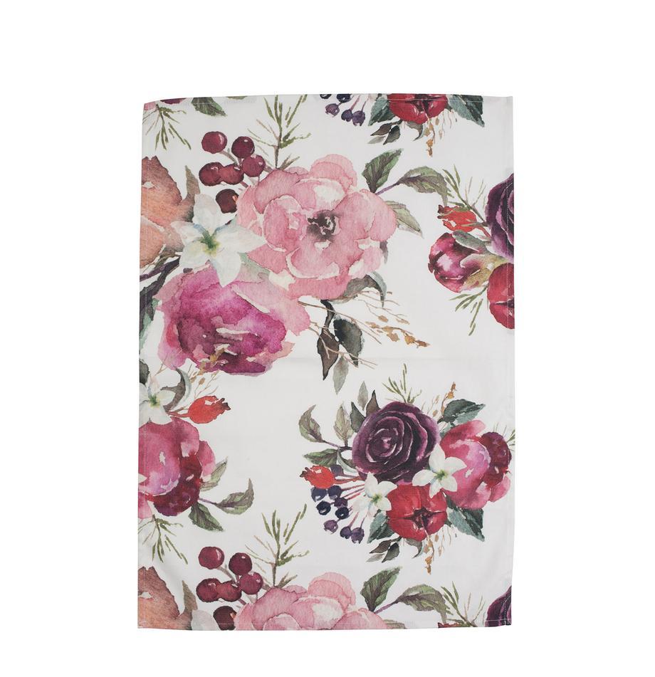 Baumwoll-Geschirrtücher Florisia mit Blumenmuster, 2 Stück, Baumwolle, Rosa, Weiss, 50 x 70 cm