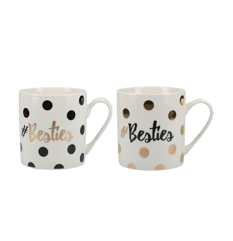 Komplet kubków do kawy Besties, 2 elem., Porcelana, Biały, czarny, odcienie złotego, Ø 12 x W 10 cm