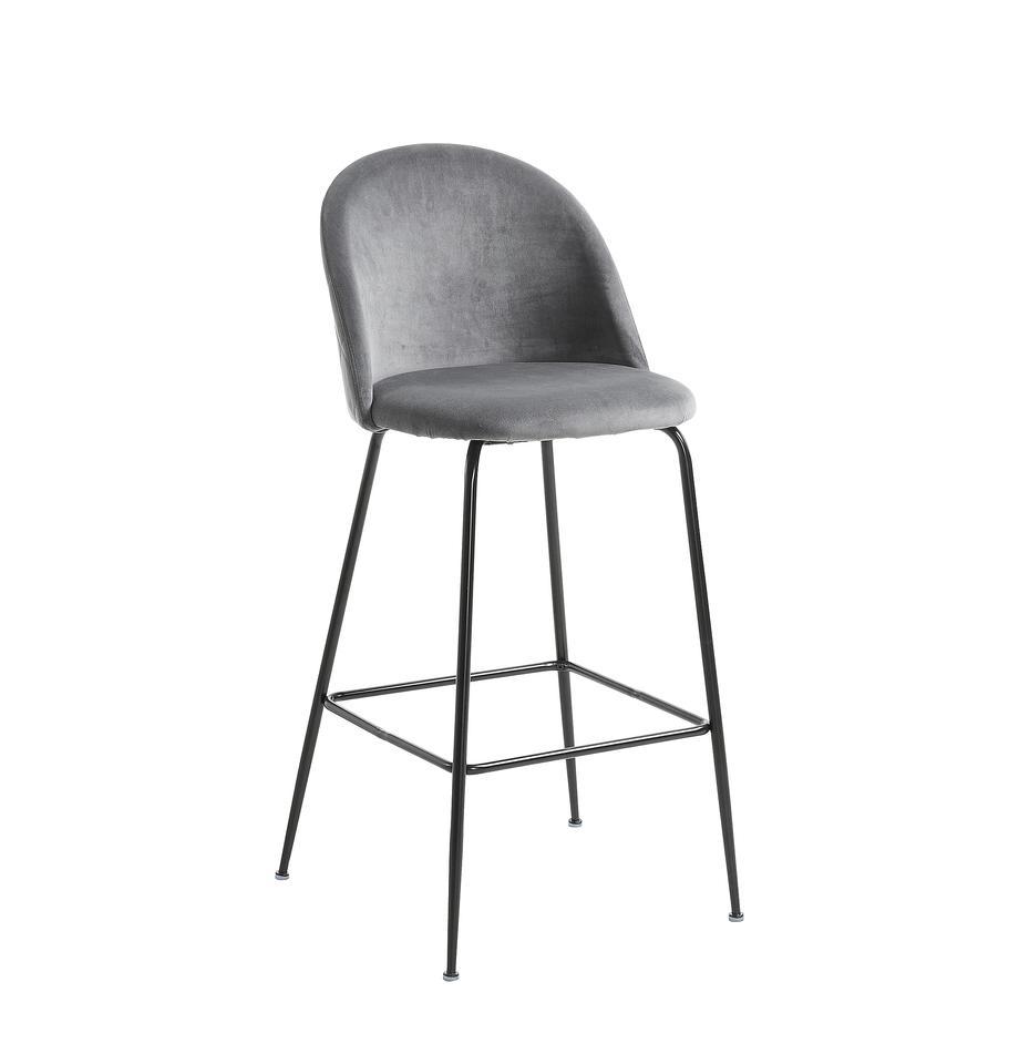 Fluwelen barkruk Ivonne, Bekleding: polyester fluweel, Frame: gelakt metaal, Grijs, zwart, 53 x 108 cm