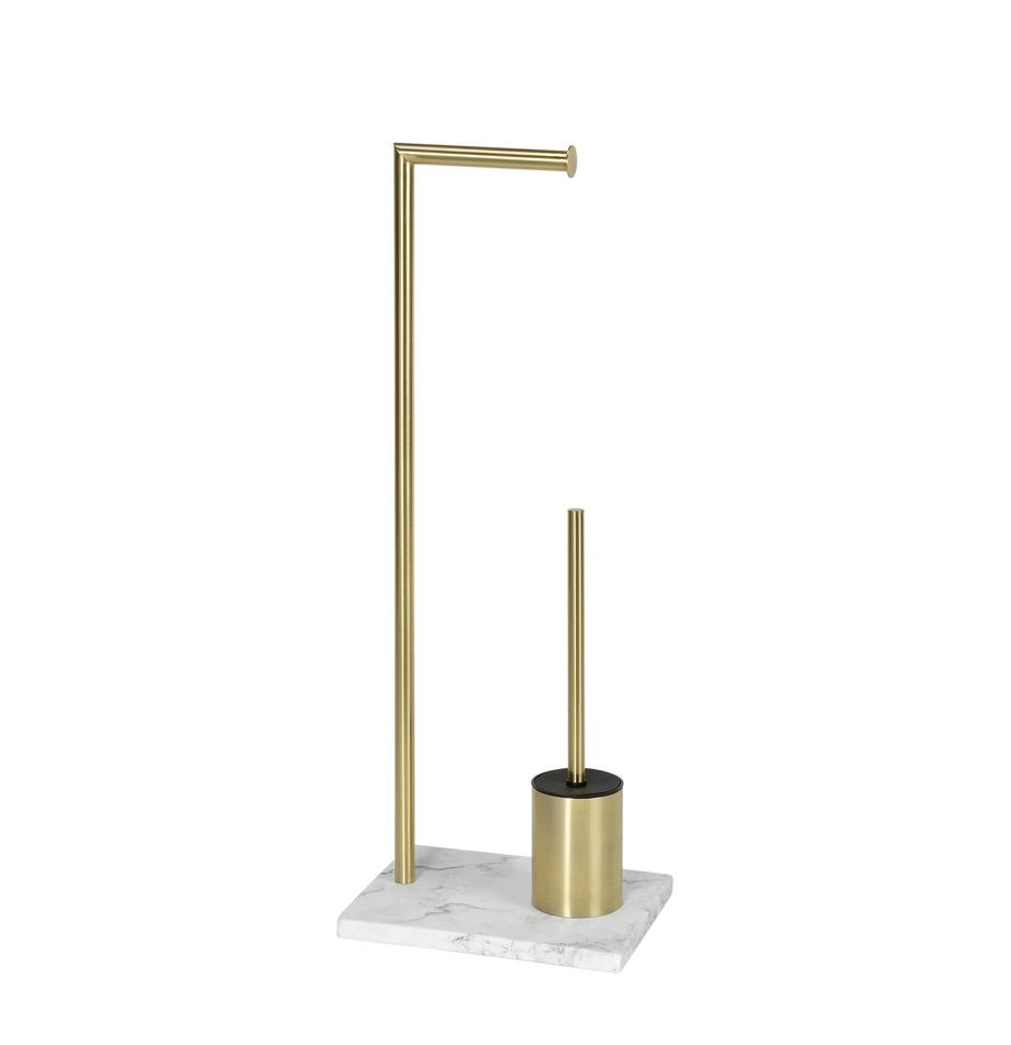 Portarrollos con escobilla de baño Albany, Estructura: metal recubierto, Dorado, blanco, An 27 x Al 73 cm