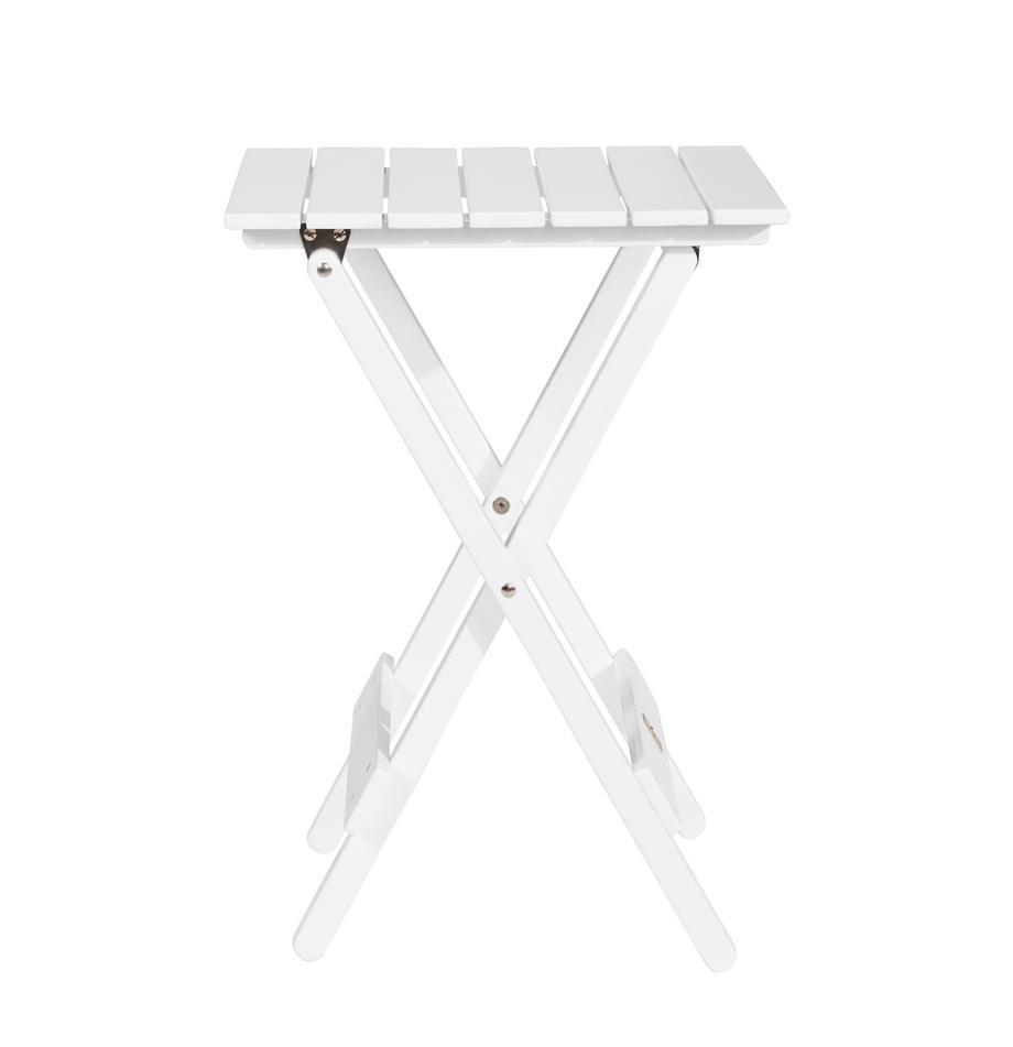 Mały stół składany z drewna Lodge, Drewno akacjowe, lakierowane, Biały, S 38 x W 51 cm