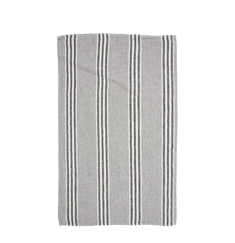 Leinen-Geschirrtuch Corte in Grau, Leinen, Blau, Weiß, Schwarz, 46 x 70 cm