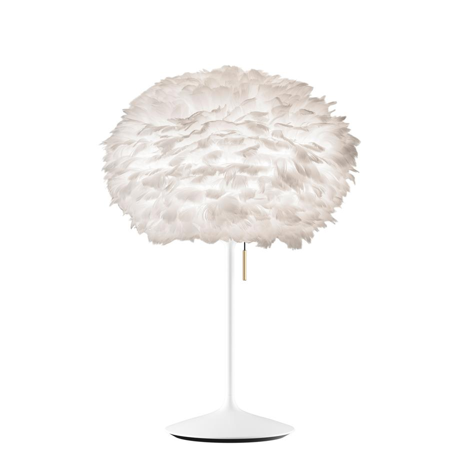 Lámpara de mesa grande de plumas Eos Champagne, Pantalla: plumas de ganso, acero, Cable: plástico, Blanco, Ø 45 x Al 72 cm