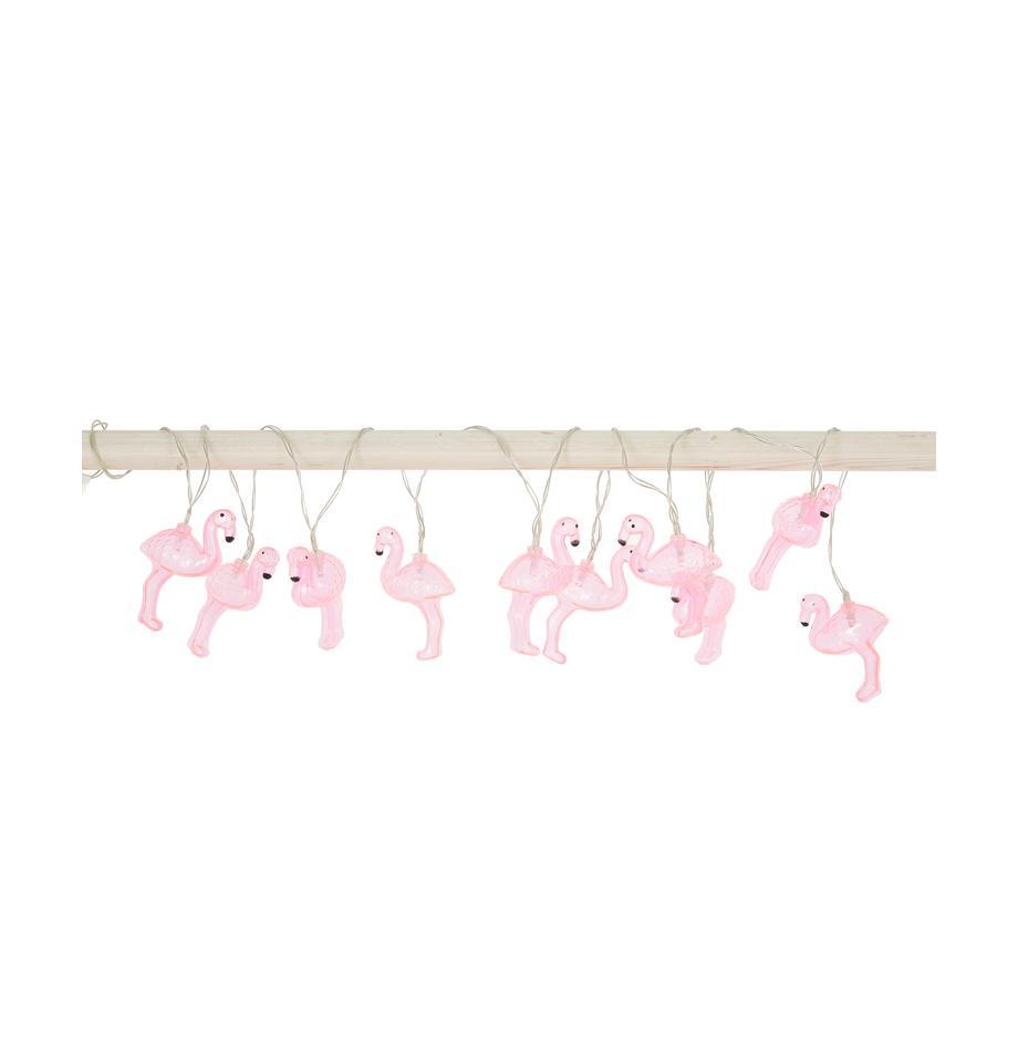LED lichtslinger Flamingo, 230 cm, Lampions: kunststof, Roze, L 230 cm