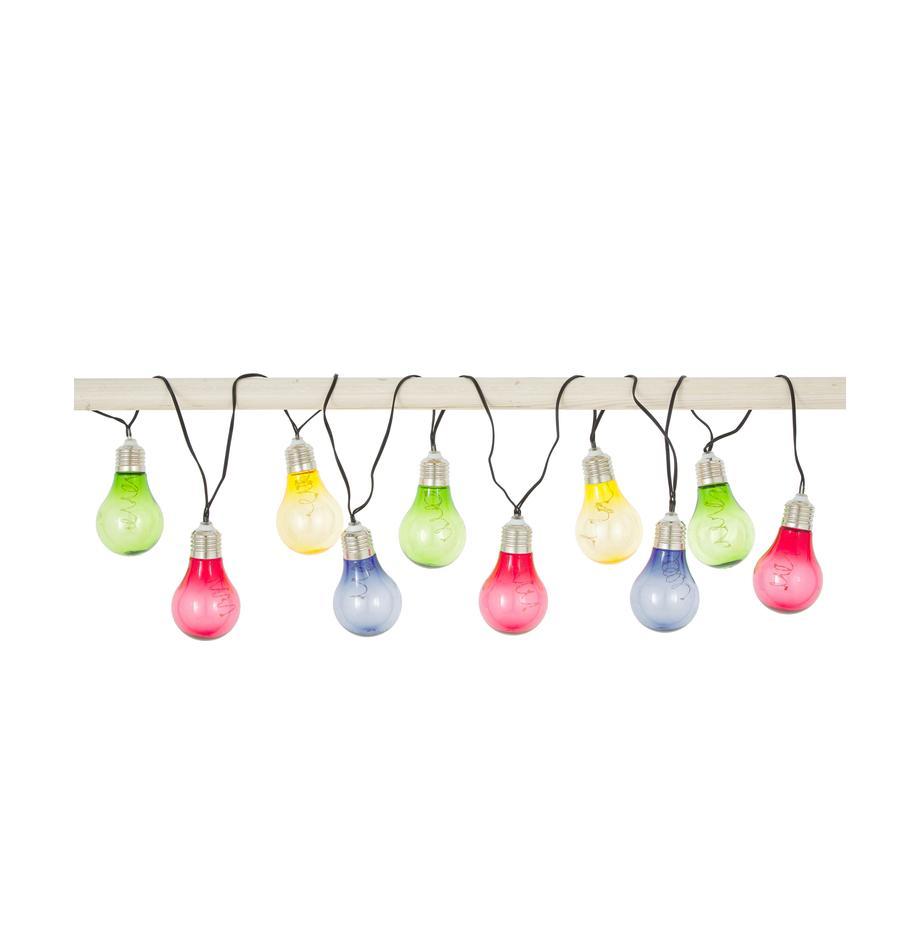 Guirnalda de luces LED Glow, 150cm, Casquillo: acero inoxidable, Cable: plástico, Multicolor, L 190 cm