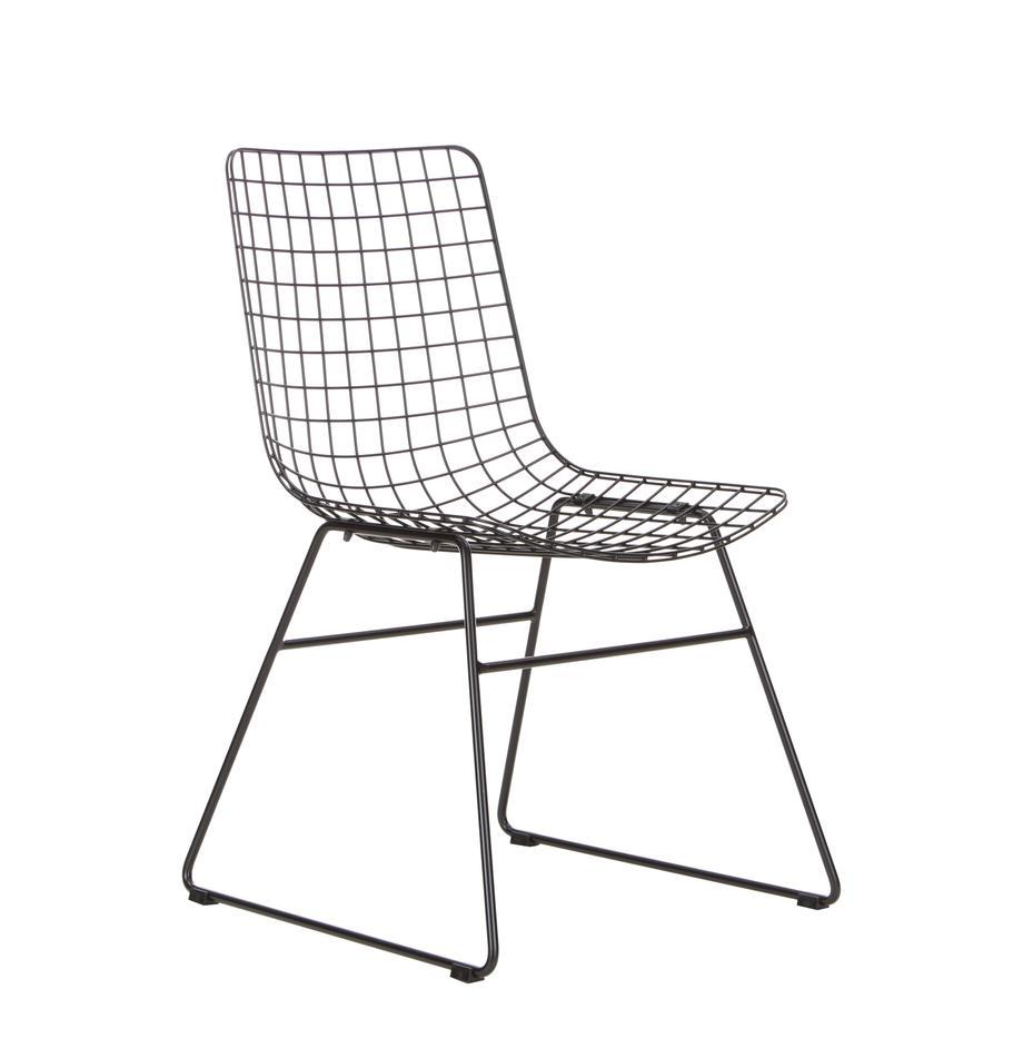 Metall-Stuhl Wire in Schwarz, Metall, pulverbeschichtet, Schwarz, B 47 x T 54 cm