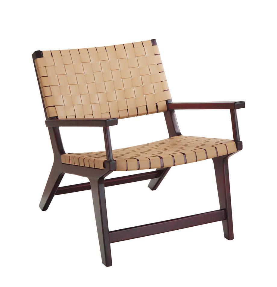 Fotel ze sztucznej skóry Akina, Stelaż: lite drewno akacjowe, lak, Beżowy, S 62 x G 74 cm