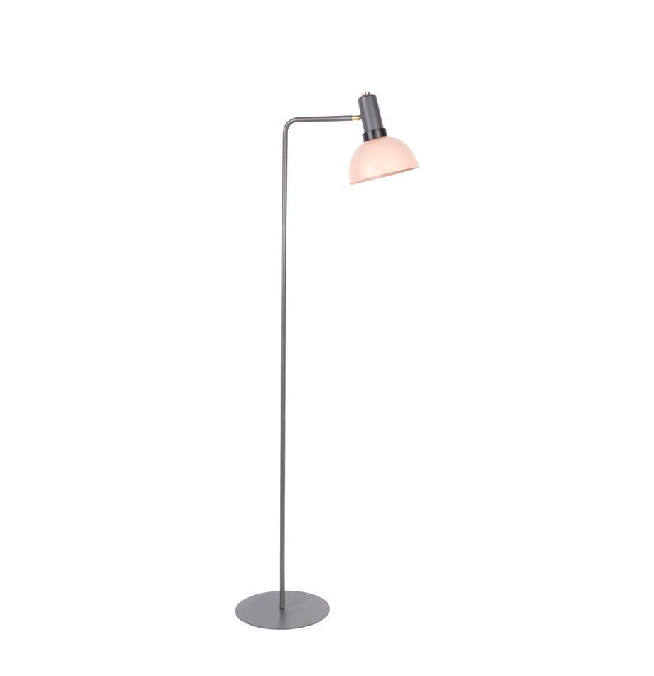 Leselampe Charlie aus Metall, Lampenschirm: Metall, beschichtet, Lampenfuß: Metall, beschichtet, Grau, Rosa, 30 x 158 cm