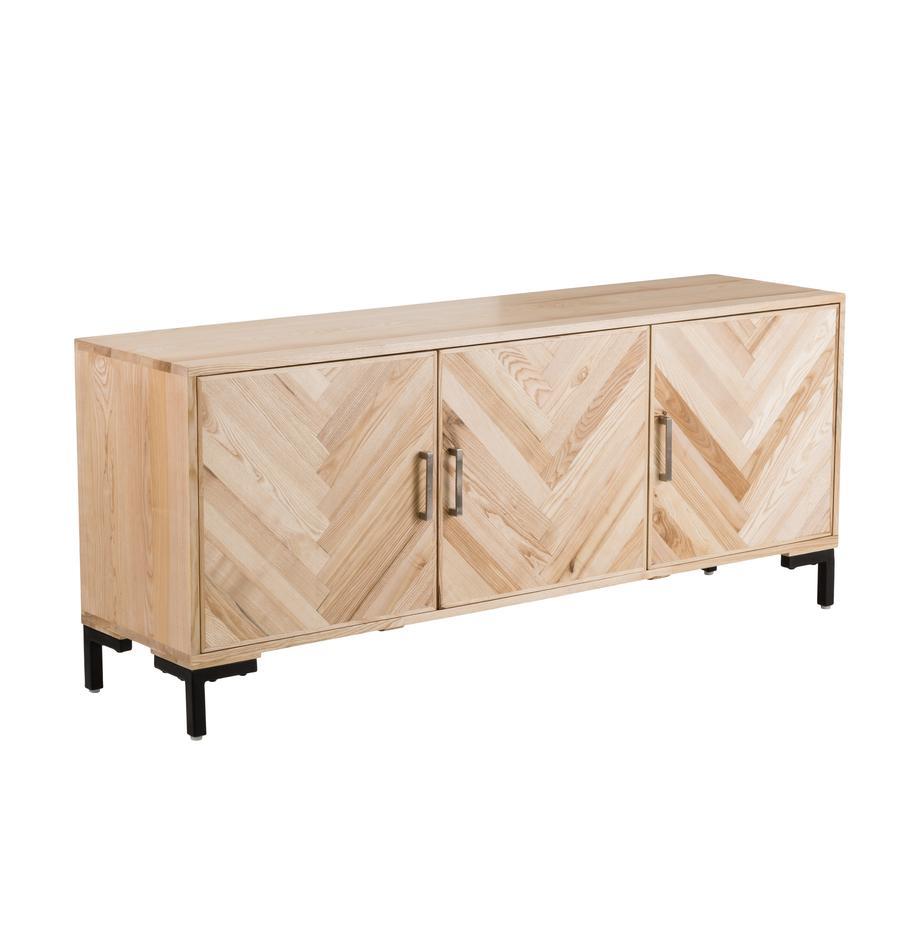 Sideboard Leif mit Türen aus massivem Eschenholz, Korpus: Massives Eschenholz, lack, Griffe: Metall, beschichtet, Eschenholz, 177 x 75 cm