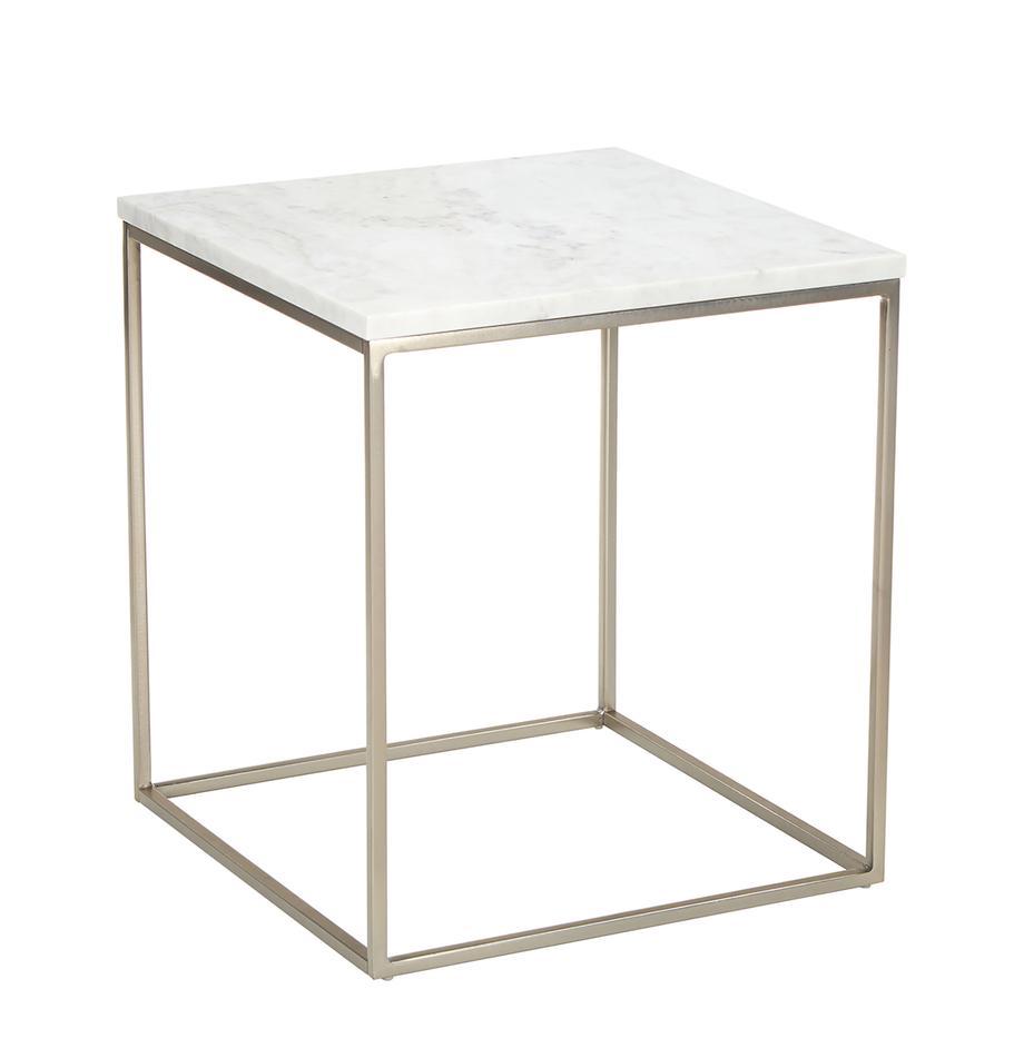 Marmor-Beistelltisch Alys, Tischplatte: Marmor, Gestell: Metall, pulverbeschichtet, Tischplatte: Weiß-grauer Marmor, leicht glänzend Gestell: Silberfarben, matt, 45 x 50 cm