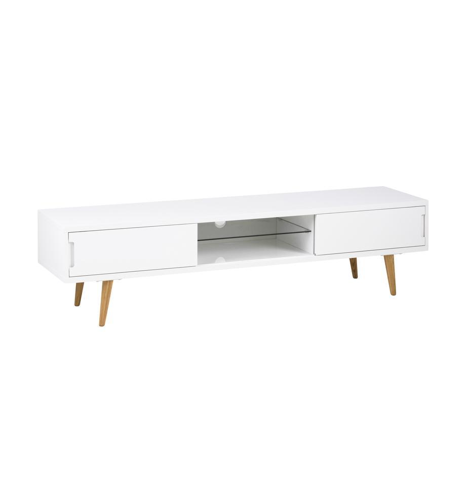 TV-Lowboard Cassie in Weiss Hochglanz, Beine: Esche, massiv, geölt, Weiss, Braun, 180 x 46 cm