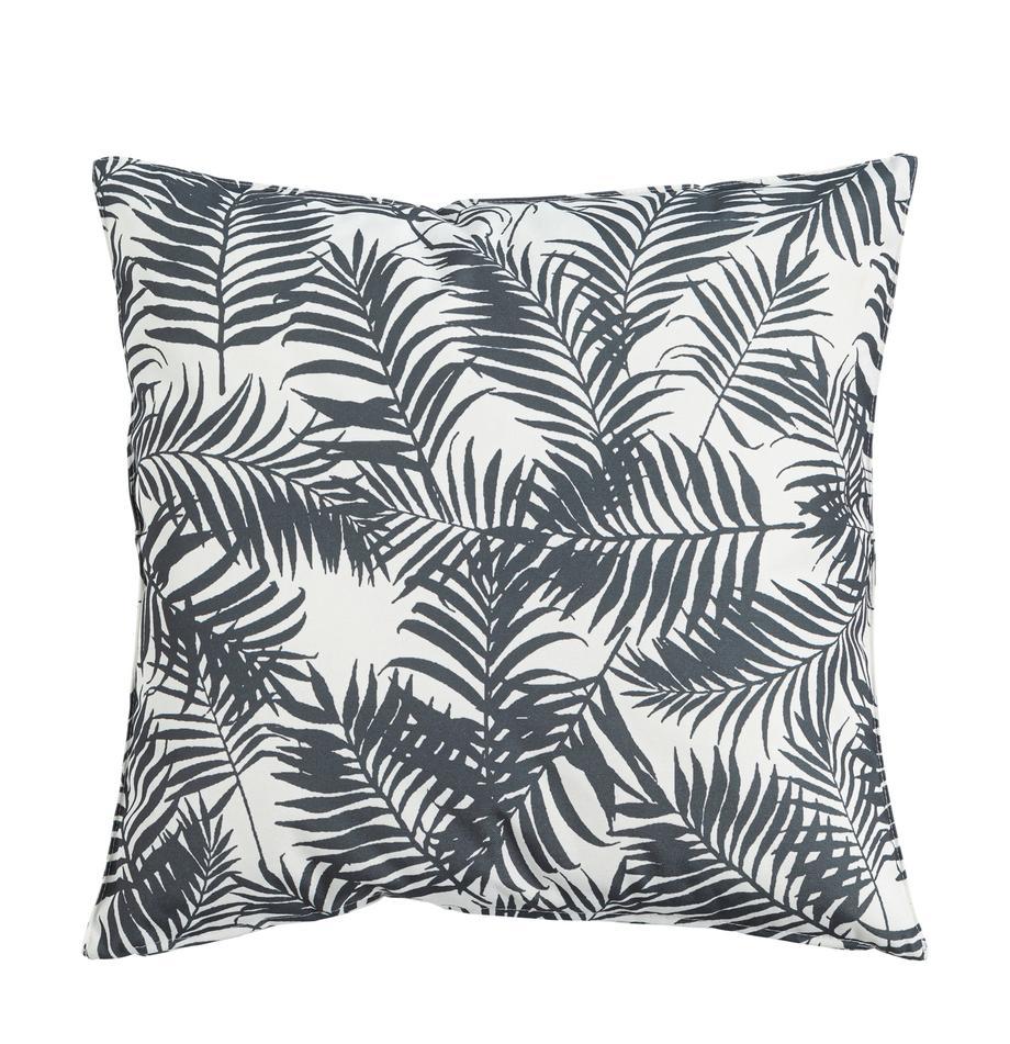 Outdoor-Kissen Gomera mit Blattmuster, mit Inlett, 100% Polyester, Weiss, Schwarz, 45 x 45 cm