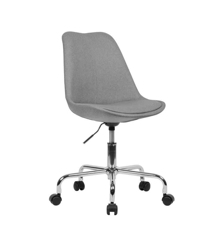 Sedia da ufficio girevole e regolabile Lenka, Rivestimento: poliestere, Struttura: metallo cromato, Tessuto grigio, Larg. 65 x Prof. 56 cm
