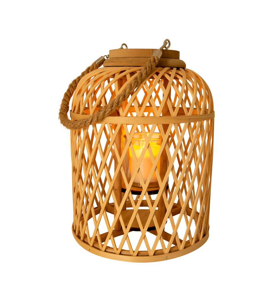 Lámpara solar LED de bambú Korab, Cesta: bambú, Asa: yute, Marrón, Ø 23 cm x Al 29 cm
