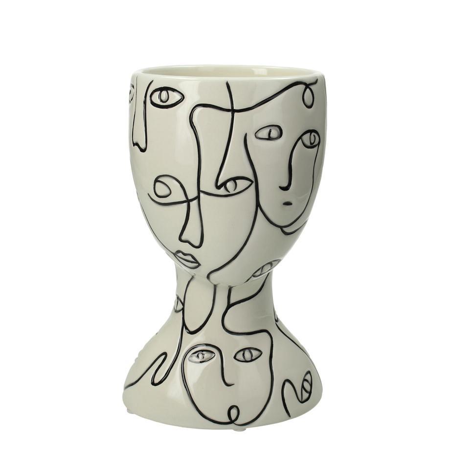 Macetero Faces, Gres, Blanco crudo, negro, An 12 x Al 20 cm