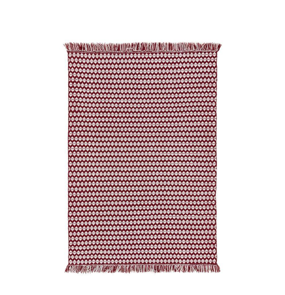 Dywan wewnętrzny/zewnętrzny Morty, 100% poliester (recyceltes PET), Czerwony, złamana biel, S 80 x D 150 cm (Rozmiar XS)