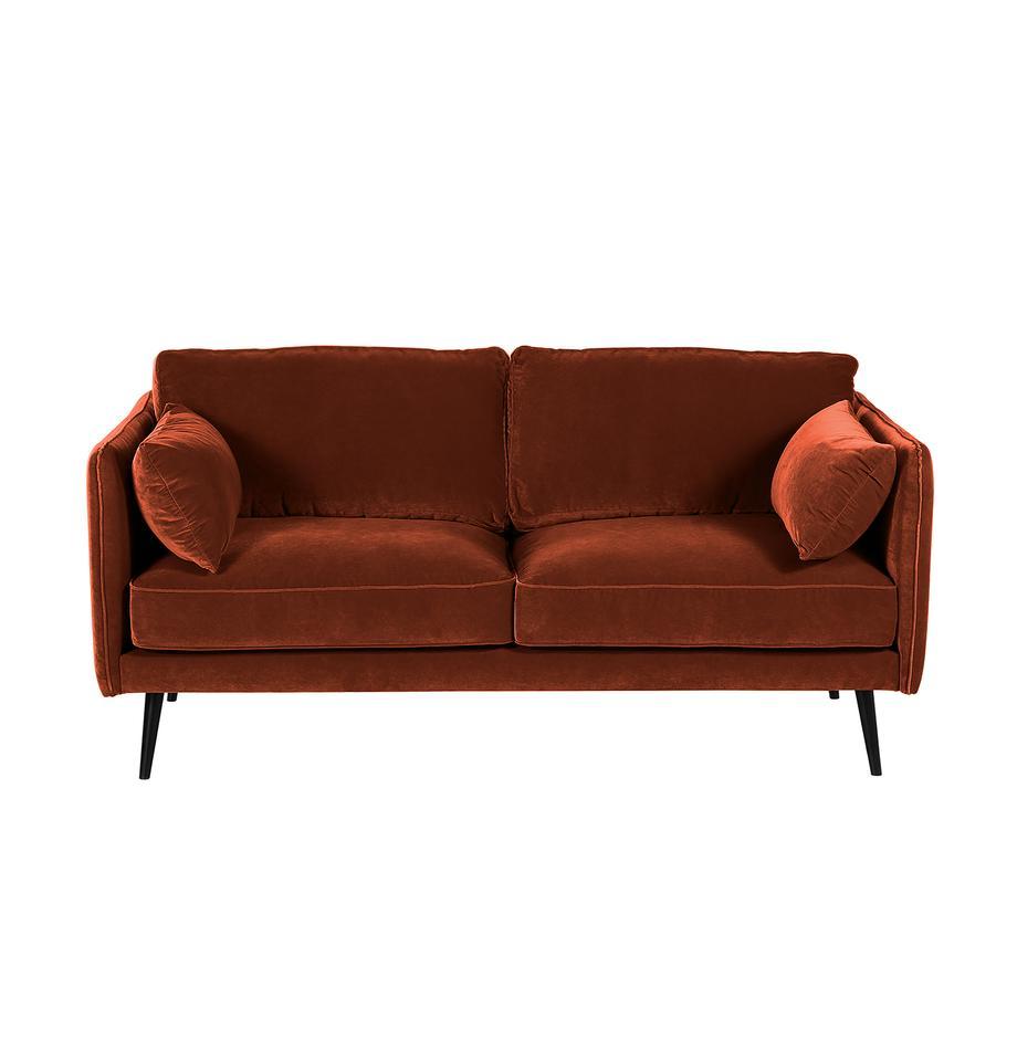 Samt-Sofa Paola (2-Sitzer) mit Rostrot mit Holz-Füßen, Bezug: Samt (Polyester) 70.000 S, Gestell: Massives Fichtenholz, Spa, Füße: Fichtenholz, lackiert, Samt Rostrot, B 179 x T 95 cm