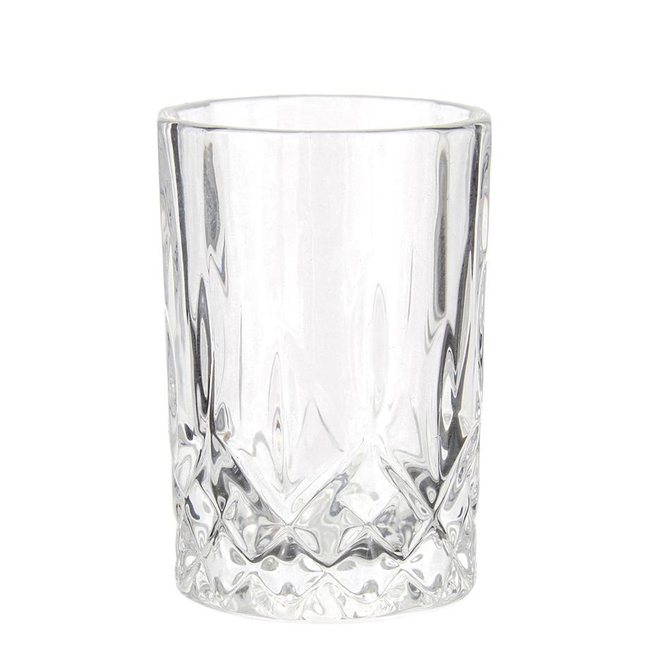 Borrelglaasjes Harvey met reliëfpatroon, set van 4, Glas, Transparant, Ø 6 x H 8 cm