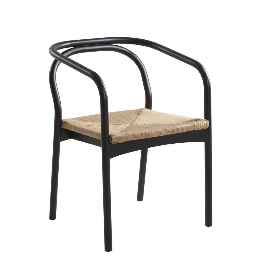 Houten stoel Lidingo, Frame: berkenhout, gelakt, Zitvlak: vlechtwerk, Zwart, beige, 54 x 56 cm