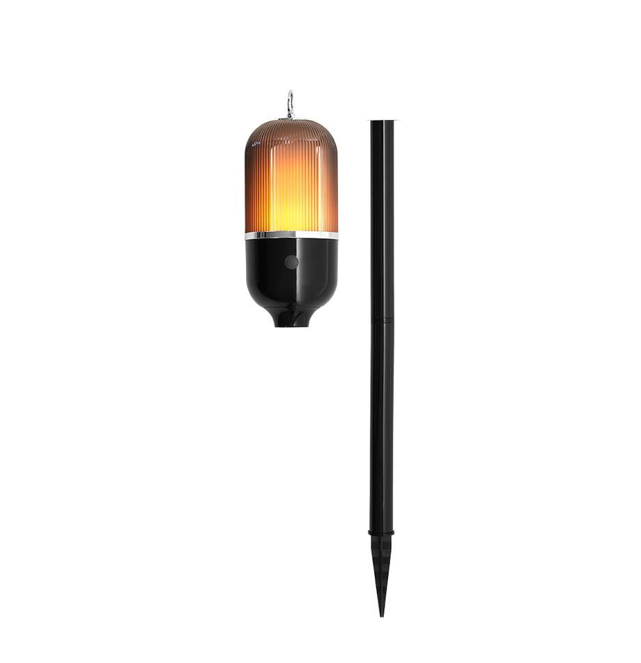 Aussenleuchte New Flame für Boden, Tisch oder zum Hängen, Lampenschirm: Kunststoff, Schwarz, Transparent, Ø 10 x H 88 cm