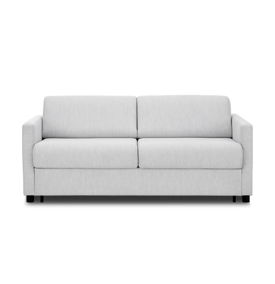 Slaapbank Morgan, Bekleding: 100% polyester, Poten: massief grenenhout, gelak, Grijs, 187 x 92 cm
