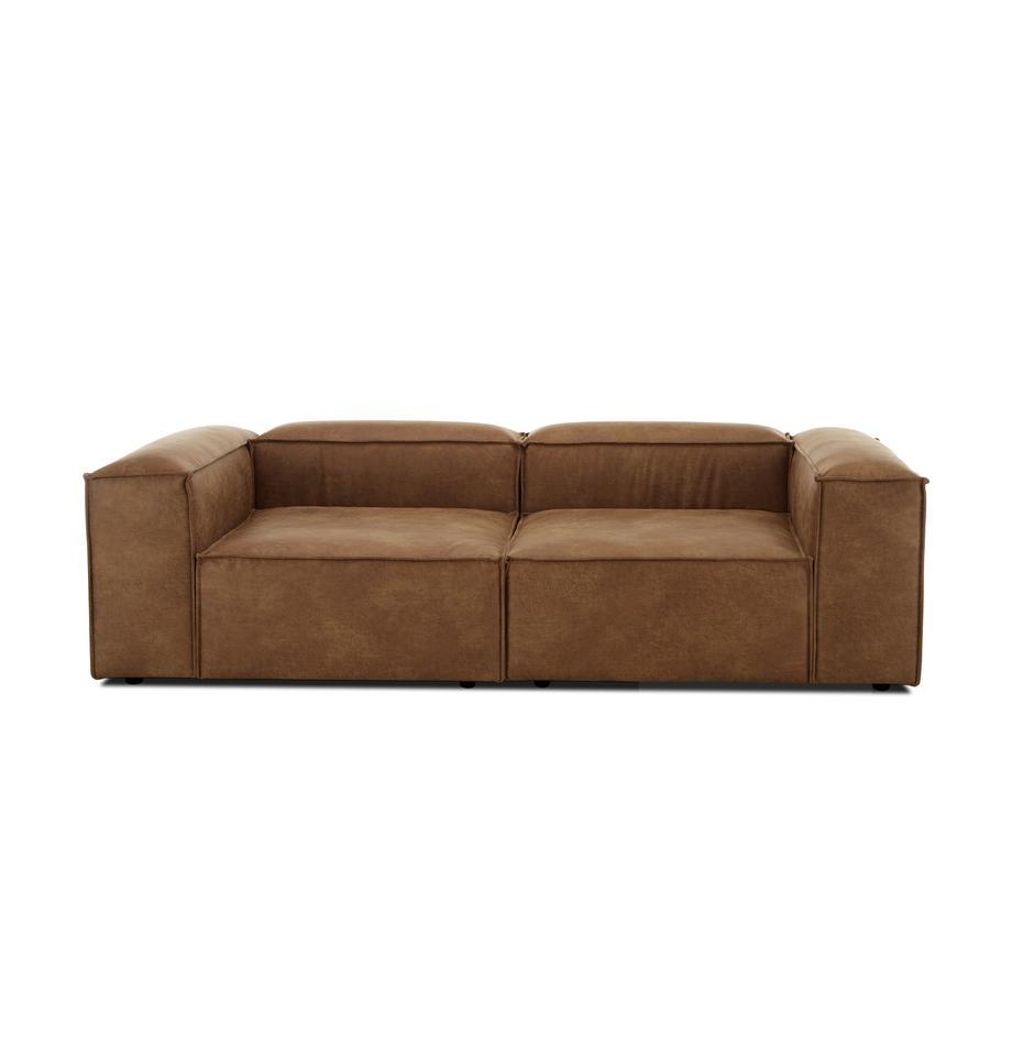 Sofá modular de cuero Lennon (3plazas), Tapizado: cuero reciclado (70%cuer, Estructura: madera de pino maciza, ma, Patas: plástico, Cuero marrón, An 238 x F 119 cm