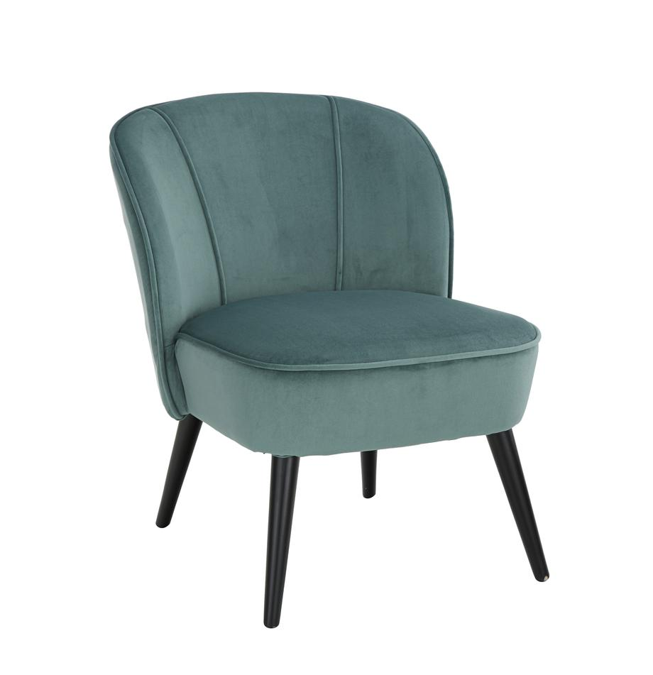 Fluwelen stoel Lucky, Bekleding: fluweel (polyester), Poten: rubberhout, gelakt, Bekleding: blauwgroen. Poten: zwart, B 59 x D 68 cm