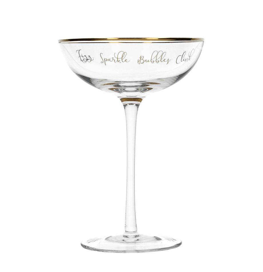 Champagnerschalen Fizz mit goldener Aufschrift, 2er-Set, Glas, Transparent, Goldfarben, Ø 12 x H 18 cm