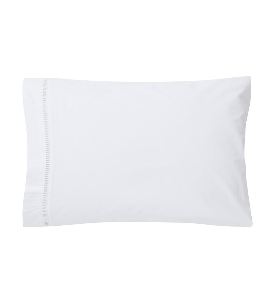 Fundas de almohada con bordado de vainica Ajour, 2uds., Algodón, Blanco, An 50 x L 70 cm