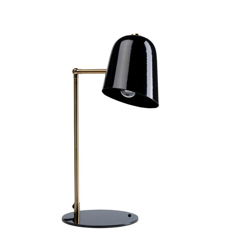 Grosse Design Schreibtischlampe Clive, Lampenschirm: Stahl, pulverbeschichtet, Messingfarben, Schwarz, 27 x 56 cm