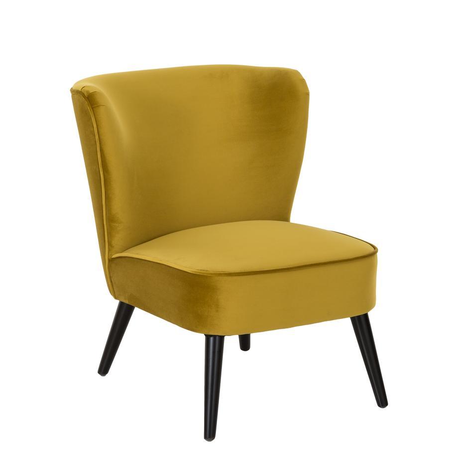 Fluwelen cocktail fauteuil Robine in olijfgeel, Bekleding: fluweel (polyester), Poten: gelakt grenenhout, Olijfgeel, B 63 x D 73 cm