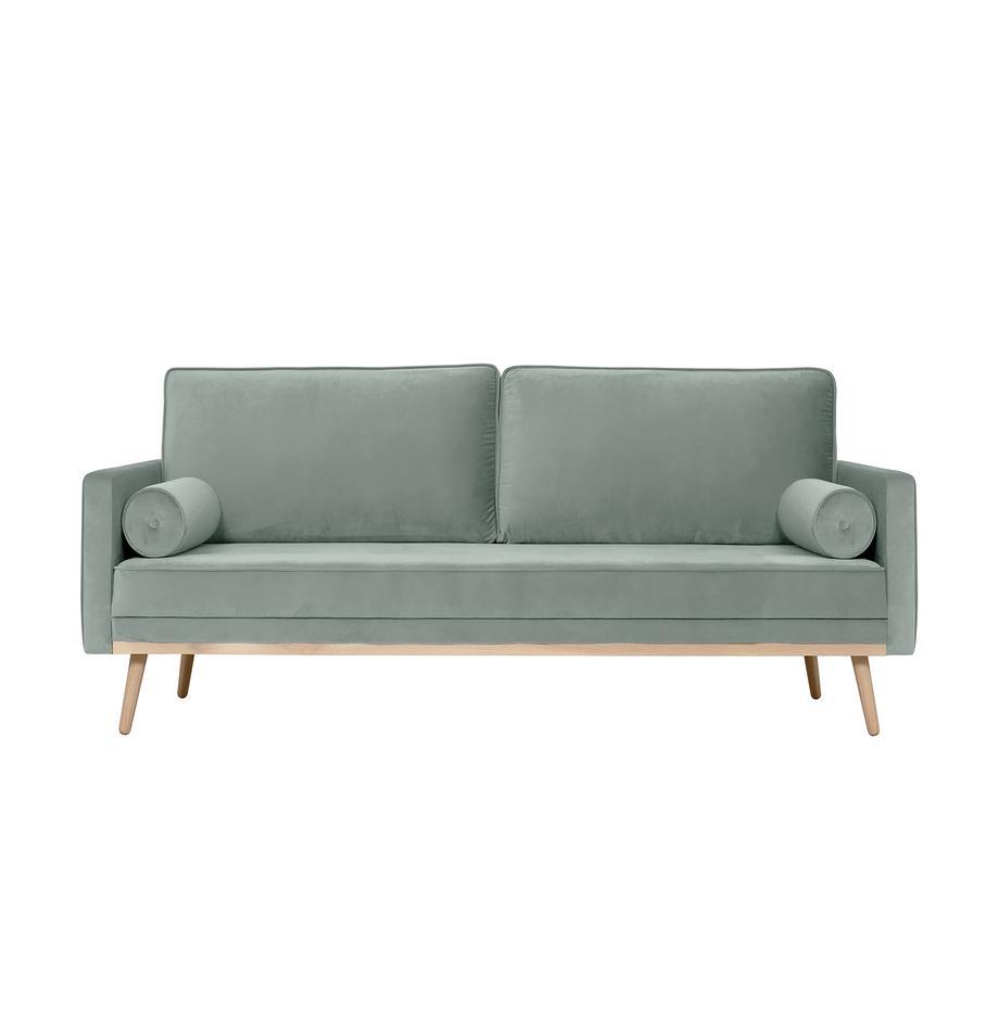 Samt-Sofa Saint (3-Sitzer) in Salbeifarben mit Eichenholz-Füßen, Bezug: Samt (Polyester) Der hoch, Gestell: Massives Eichenholz, Span, Samt Salbeifarben, B 210 x T 93 cm