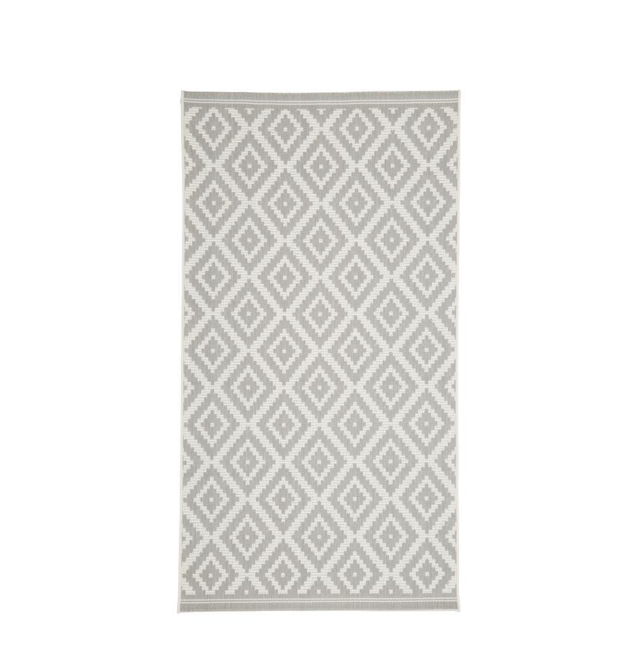 In- & outdoor vloerkleed met patroon Miami in grijs/wit, Bovenzijde: 100% polypropyleen, Onderzijde: polyester, Crèmewit, grijs, B 80 x L 150 cm (maat XS)