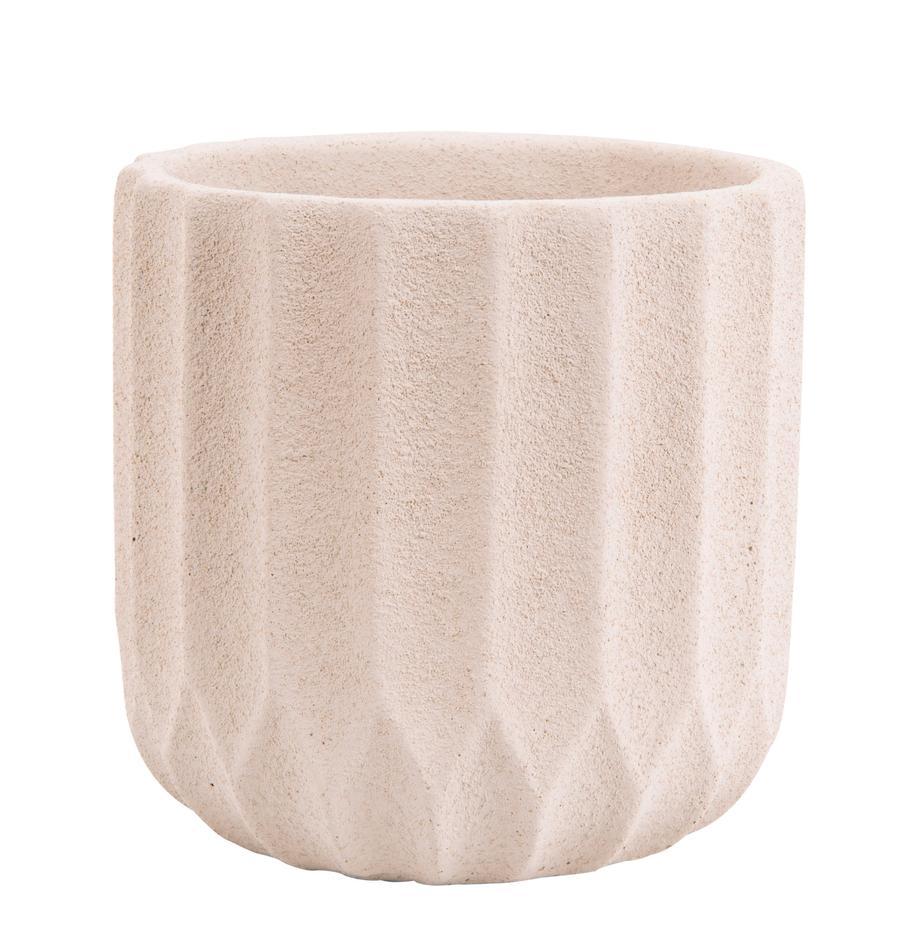 Kleiner Übertopf Stripes aus Beton, Beton, Beige, Ø 15 x H 15 cm