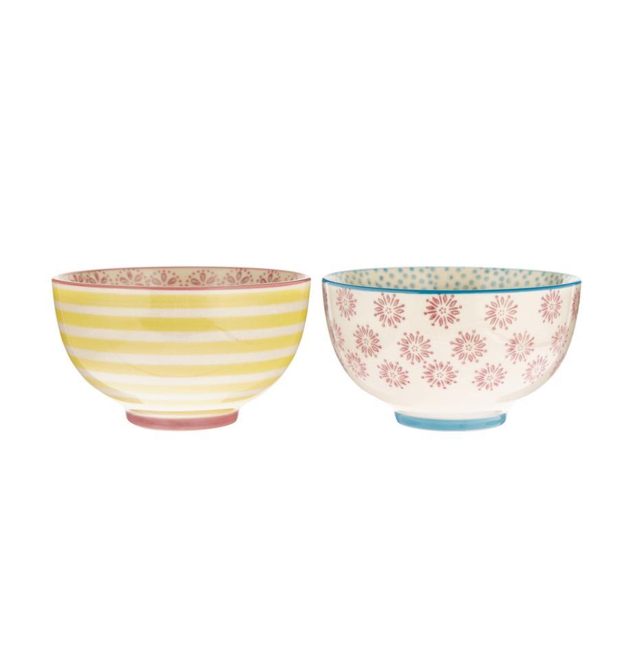 Handbemalte Schälchen Patrizia mit verspieltem Muster, 2er-Set, Keramik, Mehrfarbig, Ø 12 x H 7 cm