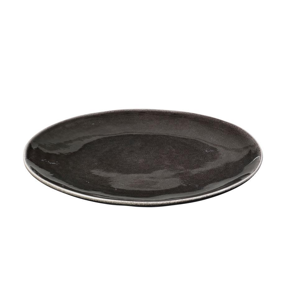 Handgemachte Speiseteller Nordic Coal aus Steingut, 4 Stück, Steingut, Bräunlich, Ø 26 cm