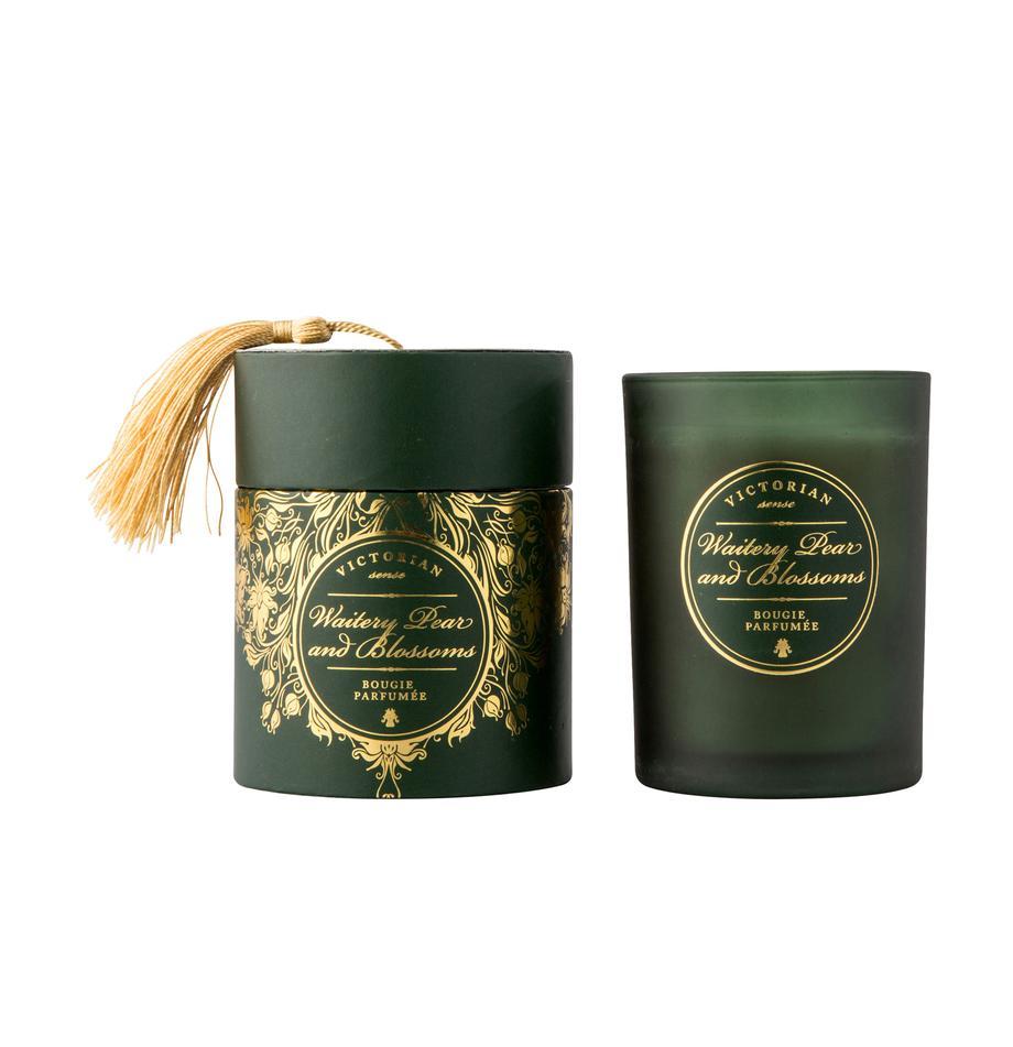 Candela profumata Sense (pera e fiori), Contenitore: vetro, Contenitore: verde<br>Cera: bianco, Ø 9 x A 11 cm