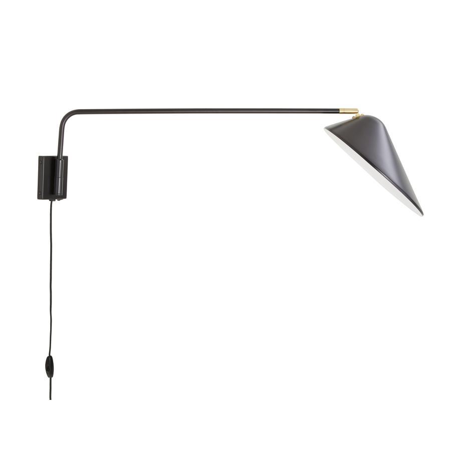 Applique con spina Neron, Paralume: metallo verniciato a polv, Struttura: metallo verniciato a polv, Nero, Larg. 27 x Alt. 15 cm